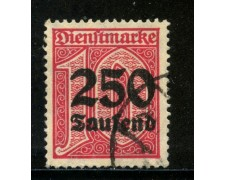 1923 - GERMANIA REICH SERVIZI - 250 su 10p. CARMINIO - USATO - LOTTO/29267