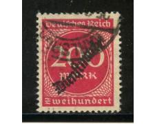 1923 - GERMANIA REICH SERVIZI - 200m. CARMINIO  SOPRASTAMPATO - USATO - LOTTO/29270