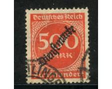 1923 - GERMANIA REICH SERVIZI - 500m. VERMIGLIO SOPRASTAMPATO - USATO - LOTTO/29271