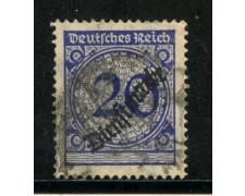 1923 - GERMANIA REICH SERVIZI - 20p. OLTREMARE  SOPRASTAMPATO - USATO - LOTTO/29274