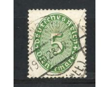 1927/28 - GERMANIA REICH SERVIZI - 5p. VERDE CIFRA IN OVALE - USATO - LOTTO/29277