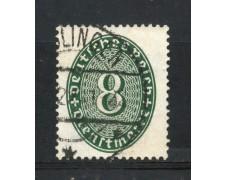 1927/28 - GERMANIA REICH SERVIZI - 8p. VERDE CIFRA IN OVALE - USATO - LOTTO/29278