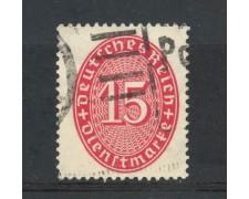 1927/28 - GERMANIA REICH SERVIZI - 15p. VERMIGLIO  CIFRA IN OVALE - USATO - LOTTO/29279