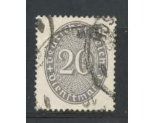 1929/33 - GERMANIA REICH SERVIZI - 20p. GRIGIO CIFRA IN OVALE - USATO - LOTTO/29284