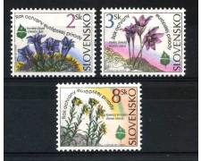 1995 - SLOVACCHIA - EMBLEMA E FIORI 3v. - NUOVI -  LOTTO/29302