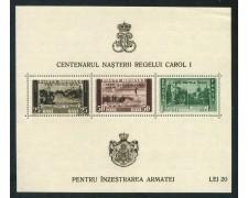 1939/40 - ROMANIA- CENTENARIO NASCITA CAROL I° - FOGLIETTO NUOVO - LOTTO/29313