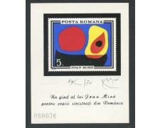 1970 - ROMANIA - PRO SINISTRATI JOAN MIRO' - FOGLIETTO NUOVO - LOTTO/29339