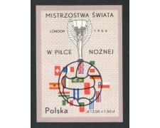 1966 - POLONIA - MONDIALI DI CALCIO A LONDRA - FOGLIETTO NUOVO - LOTTO/29372