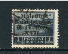1939 - ALBANIA ITALIANA - 1q. ASSEMBLEA COSTITUENTE - USATO - LOTTO/29589