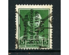 1939 - ALBANIA ITALIANA - 5q. ASSEMBLEA COSTITUENTE - USATO - LOTTO/29593