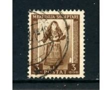 1939/40 - ALBANIA ITALIANA - 3q. COSTUME ALBANESE - USATO - LOTTO/29598