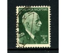 1939/40 - ALBANIA ITALIANA - 5q. RE VITTORIO EMANUELE - USATO - LOTTO/29599