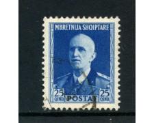 1939/40 - ALBANIA ITALIANA - 25q. RE VITTORIO EMANUELE - USATO - LOTTO/29602