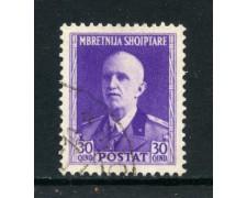 1939/40 - ALBANIA ITALIANA - 30q. RE VITTORIO EMANUELE - USATO - LOTTO/29603