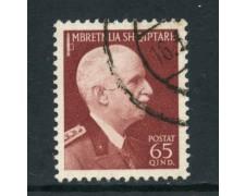 1939/40 - ALBANIA ITALIANA - 65q. RE VITTORIO EMANUELE - USATO - LOTTO/29605