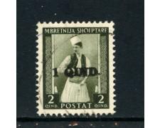1942 - ALBANIA ITALIANA - 1q.  su 2 q. COSTUME ALBANESE - USATO - LOTTO/29608