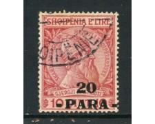 1914 - ALBANIA - 20p. su 10q. ROSSO - USATO - LOTTO/29614