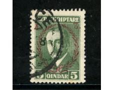 1927 - ALBANIA - 5q. VERDE AHMED ZOGOU SOPRASTAMPATO - USATO - LOTTO/29627