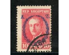 1927 - ALBANIA - 10q.ROSSO  ZOGOU SOPRASTAMPATO - USATO - LOTTO/29628