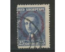 1927 - ALBANIA - 25q.BLU ZOGOU SOPRASTAMPATO - USATO - LOTTO/29629