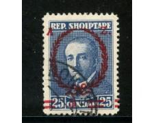1928 - ALBANIA -  5q. su 25q.BLU ZOGOU SOPRASTAMPATO - USATO - LOTTO/29630