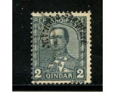 1928 - ALBANIA - 2q. ARDESIA ZOGOU SOPRASTAMPATO - USATO - LOTTO/29632