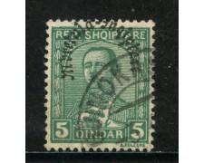 1928 - ALBANIA - 5q. VERDE ZOGOU SOPRASTAMPATO - USATO - LOTTO/29633