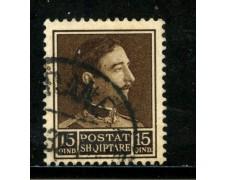 1930 - ALBANIA - 15q. BRUNO - USATO - LOTTO/29637