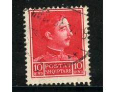 1930 - ALBANIA - 10q. ROSSO CARMNIO - USATO - LOTTO/29638