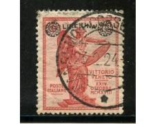 1924 - REGNO - 1 LIRA SU 10c. FRANCOBOLLO DELLA VITTORIA - USATO - LOTTO/29848