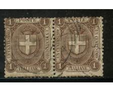 1896 - REGNO - 1cent. BRUNO STEMMA - COPPIA USATI - LOTTO/29852