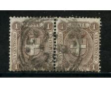 1896 - REGNO - 1cent. BRUNO STEMMA - COPPIA USATI - LOTTO/29853