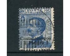 1909 - COSTANTINOPOLI - 1 piastra su 25 cent. AZZURRO - USATO - LOTTO/29894