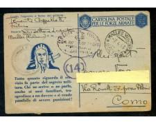 1942 - REGNO - CARTOLINA IN FRANCHIGIA PER LE FORZE ARMATE - USATA - LOTTO/29975