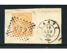 1875 - REGNO - 10 cent. OCRA VITT. EMANUELE II° - USATO SU FRAMMENTO  - LOTTO/30026
