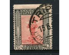 1921 - LIBIA - 10c. PITTORICA NON DENTELLATO IN ALTO - USATO - LOTTO/30044