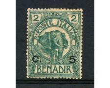 1906 - SOMALIA - 5 cent. SU 2 BESA VERDE - LINGUELLATO - LOTTO/30063