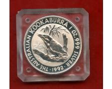 1992 - AUSTRALIA - 1 DOLLARO ARGENTO KOOKABURRA - FONDO SPECCHIO - LOTTO/M30101