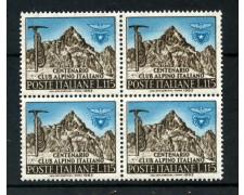 1963 - LOTTO/6413Q - REPUBBLICA - CENTENARIO CLUB ALPINO - QUARTINA NUOVI