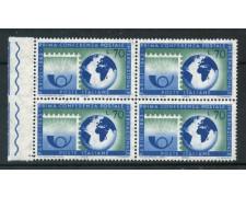 1963 - LOTTO/6415Q - REPUBBLICA - CONFERENZA POSTALE - QUARTINA NUOVI