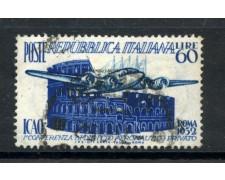 1952 - REPUBBLICA - DIRITTO AERONAUTICO (ICAO) - USATO - LOTTO/6187U