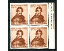 1963 - LOTTO/6421Q - REPUBBLICA - GIOACCHINO BELLI - QUARTINA NUOVI