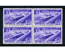 1953 - LOTTO/6197Q - REPUBBLICA - MILLE MIGLIA - QUARTINA NUOVI