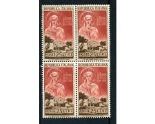 1953 - LOTTO/6210Q - REPUBBLICA - SANTA CHIARA - QUARTINA NUOVI