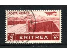 1936 - ERITREA - POSTA AEREA - 3 LIRE PITTORICA - USATO - LOTTO/ERITA24U