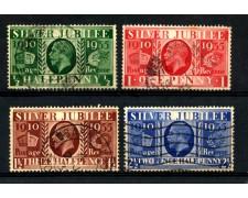 1935 - GRAN BRETAGNA - GIUBILEO 4v. - USATI - LOTTO/LBF2506A