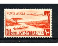 1950 - SOMALIA AFIS - POSTA AEREA 10 LIRE ARANCIO - LINGUELLATO - LOTTO/13094