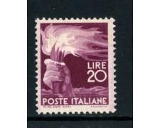 1945 - REPUBBLICA - 20 LIRE DEMOCRATICA - NUOVO - LOTTO/30421