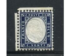 1862 - REGNO - 20c. INDACO EFFIGIE DI VITTORIO EMANUELE II° - T/LINGUELLA - LOTTO/30249