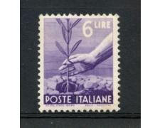 1945 - REPUBBLICA - 6 LIRE DEMOCRATICA - NUOVO - LOTTO/30251